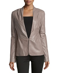 Halston Heritage Knit Panel Leather Blazer Cinder