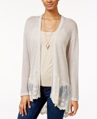 American Rag Lace Trim Open Knit Cardigan Only At Macy's Oatmeal Combo
