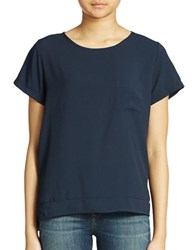French Connection Boxy Mixed Media Tee Nocturnal Blue