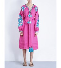 March 11 Flower Linen Midi Dress Bright Pink Blue
