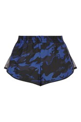 Ivy Park Camo Mesh Panel Runner Shorts By Navy Blue