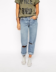 Milk It Vintage High Waisted Mom Jeans With Ripped Knees And Roll Hem Blue