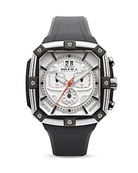 Brera Orologi Supersportivo Square Black Ionic Plated Stainless Steel Watch With White Dial And Black Rubber Strap 46Mm