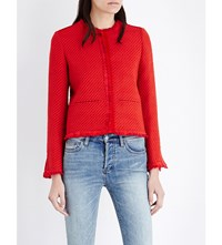 Maje Lou Tweed Jacket Red