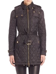 Burberry Bellbridge Technical Diamond Quilted Trench Parka Black