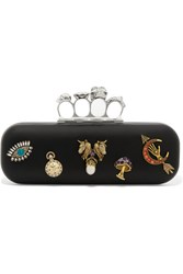 Alexander Mcqueen Embellished Leather Clutch Black