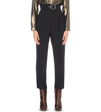 Claudie Pierlot Peacock Belted Regular Fit High Rise Crepe Trousers Marine