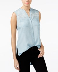 American Rag Embroidered Chambray High Low Tunic Only At Macy's Denim