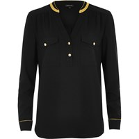 River Island Womens Black Military Shirt With Gold Trim