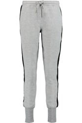 Zoe Karssen Suede Trimmed Knitted Track Pants Gray
