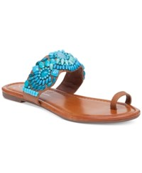 Jessica Simpson Razzel Toe Ring Embellished Flat Sandals Women's Shoes Burnt Umber