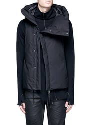 The Viridi Anne Asymmetric Zip Down Puffer Vest Black