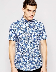 Only And Sons Short Sleeve All Ovoer Floral Print Shirt Truenavy
