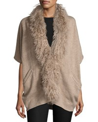 Alberto Makali Oversized Knit Cardigan With Fur Trim Beige