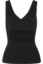 Narciso Rodriguez Ribbed Paneled Jersey Top Black