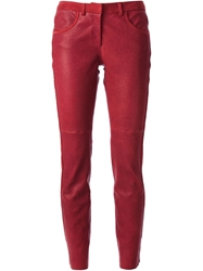 Isabel Marant Leather Trousers Red
