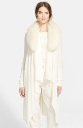 Alice Olivia 'Azaria' Wool And Cashmere Sweater With Genuine Fox Fur Collar Cream