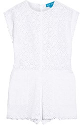 Mih Jeans Broderie Anglaise Cotton Playsuit White