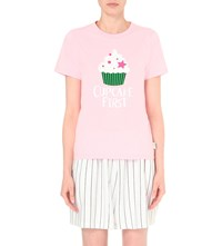Chocoolate Cupcake Print Cotton T Shirt Pink