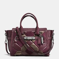 Coach Swagger 27 In Mixed Materials Canyon Quilt Dark Gunmetal Oxblood Bronze