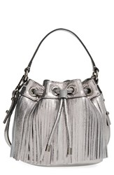 Milly Small Fringed Metallic Leather Bucket Bag