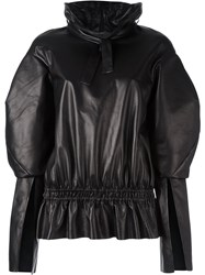 Drome Gathered Leather Blouse Black