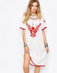 Gat Rimon Lorna Embroidered Dress In White Blancrouge