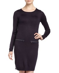 Marc New York By Andrew Marc Zip Pocket Long Sleeve Sweater Dress Night Black