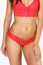 Boohoo Lace French Knicker Red