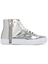 Diesel Hi Top Metallic Grey Sneakers
