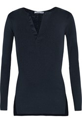 Helmut Lang Ribbed Cotton And Angora Blend Sweater Blue