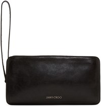 Jimmy Choo Black Leather Dobb Pouch
