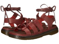 Dr. Martens Kristina Ghillie Sandal Deep Red Polished Oily Illusion Women's Sandals Brown