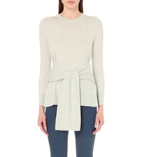 Whistles Tie Front Wool Blend Jumper Grey