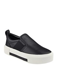 Kendall Kylie Tenley Leather Slip On Flatform Sneakers Black