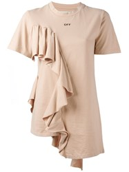Off White Ruffle T Shirt Nude And Neutrals