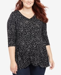 Motherhood Maternity Plus Size Printed T Shirt Black White Print