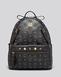 Mcm Backpack Stark Medium Dual Pocket Sprinkle Stud Black