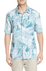Quiksilver Men's Waterman Collection 'Siesta' Regular Fit Leaf Print Camp Shirt Agate Green