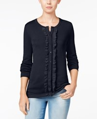 Tommy Hilfiger Kelly Ruffled Cardigan Only At Macy's Masters Navy