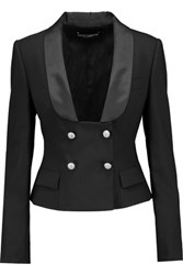 Dolce And Gabbana Embellished Satin Trimmed Wool Blend Blazer Black
