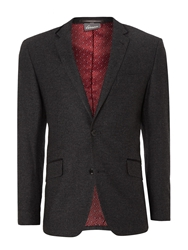 Linea Times Wool Blazer With Velvet Trims Charcoal