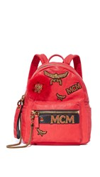 Mcm Insignia Backpack Ruby Red