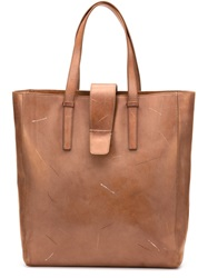 Maison Martin Margiela Maison Margiela Distressed Leather Tote Brown