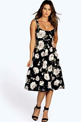 Boohoo Wide Strappy Sweetheart Floral Skater Dress Black