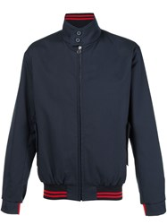 Lanvin High Collar Bomber Jacket Blue