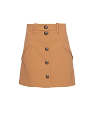 Chloe Button Through A Line Crepe Mini Skirt