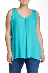 Halo Novelty Woven Solid Tank Plus Size Blue