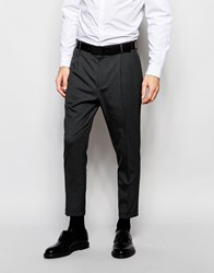 Asos Smart Cropped Tapered Leg Trousers In Charcoal Charcoal Grey