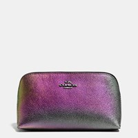 Coach Cosmetic Case 17 In Hologram Leather Dk Multicolor